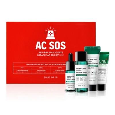 Набор миниатюр для лица с кислотами SOME BY MI AHA BHA PHA 30 Days Miracle AC Sos Kit Edition