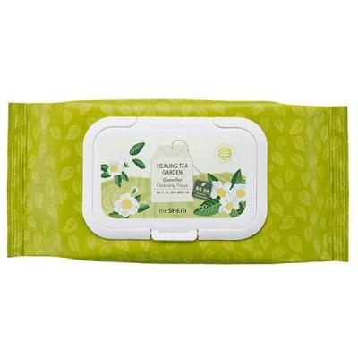 Очищающие салфетки с зеленым чаем THE SAEM Healing Tea Garden Cleansing Tissue - Green Tea - 60 шт