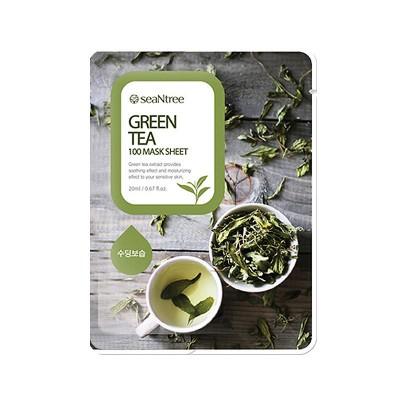 Тканевая маска с зеленым чаем SEANTREE Green Tea 100 Mask Sheet