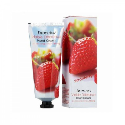 Крем для рук с клубникой FARM STAY Visible Difference Hand Cream - Strawberry