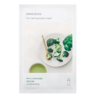 Тканевая маска с брокколи INNISFREE My Real Squeeze Mask - Broccoli