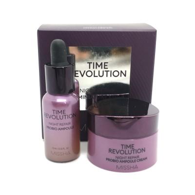 Набор миниатюр MISSHA Time Revolution Night Repair Probio Ampoule and Cream Samples (10мл + 7мл)